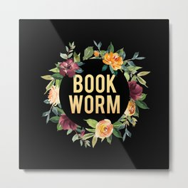 Autumn Bookworm - Black Metal Print