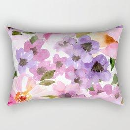 Pink Purple Watercolor Flowers Rectangular Pillow