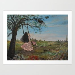 Swinging and Singing  under the Big Old Tree Art Print
