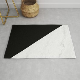 Marble And Black Diagonal Rug