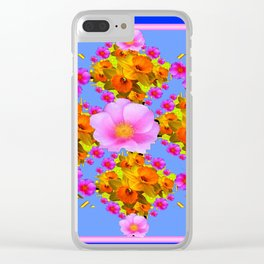 Blue Art Pink Roses Gold Daffodils Clear iPhone Case