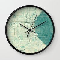 milwaukee Wall Clocks featuring Milwaukee Map Blue Vintage by City Art Posters