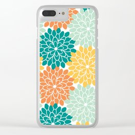 Petals in Orange, Mint, Apricot and Jade Clear iPhone Case