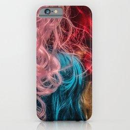 Rainbow female hair iPhone Case
