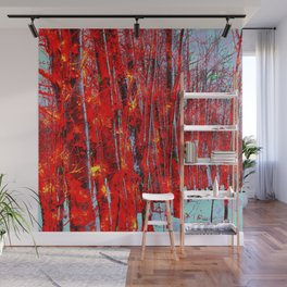 Wooded in Red Wall Mural
