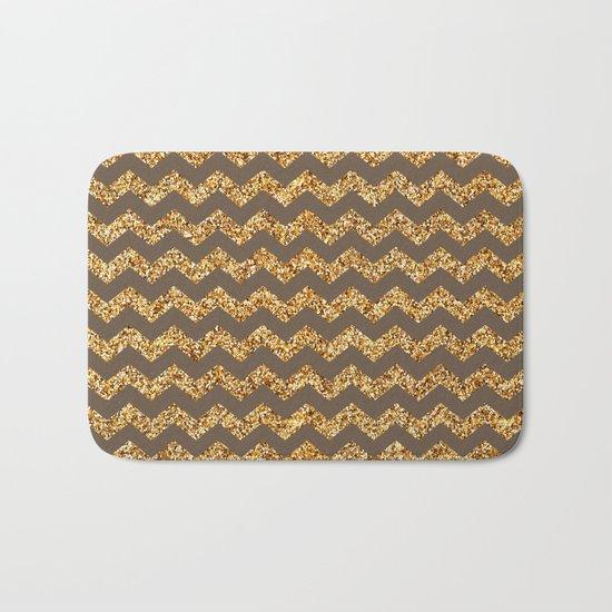 Brown Gold Glitter Chevron Bath Mat
