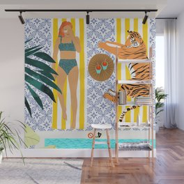 How To Vacay With Your Tiger #illustration Wall Mural