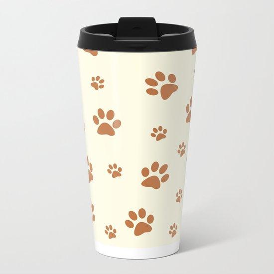 Muddy Puppy Paw Prints Metal Travel Mug