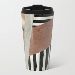 Abstract Geometric Composition in Copper, Brown, Black Metal Travel Mug
