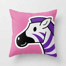Happy Purple Zebra Throw Pillow