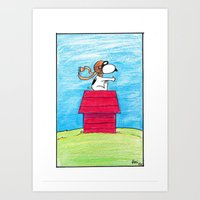 snoopy Art Prints featuring pilot Snoopy by DROIDMONKEY