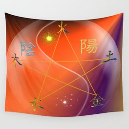 Feng Shui five elements Orange Purple Wall Tapestry
