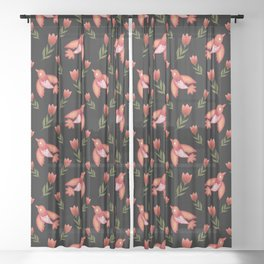 Pretty cute little wild canary birds, red blooming garden tulips, feminine nature flowers black pattern. Hello spring. Gift ideas for tulip lovers. Botanical floral animal artistic design. Sheer Curtain