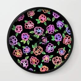 Neon Flowers Print Wall Clock