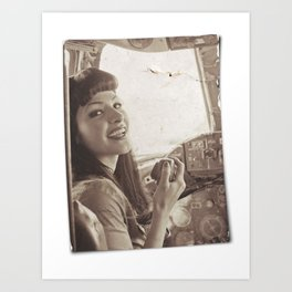 """""""Roger That"""" - The Playful Pinup - Sepia Weathered Air Force Pinup Girl by Maxwell H. Johnson Art Print"""