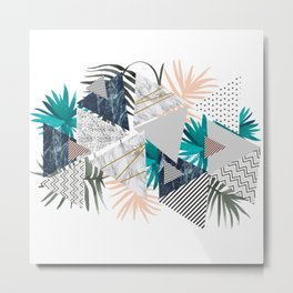 Abstract of geometric patterns with plants and marble II Metal Print