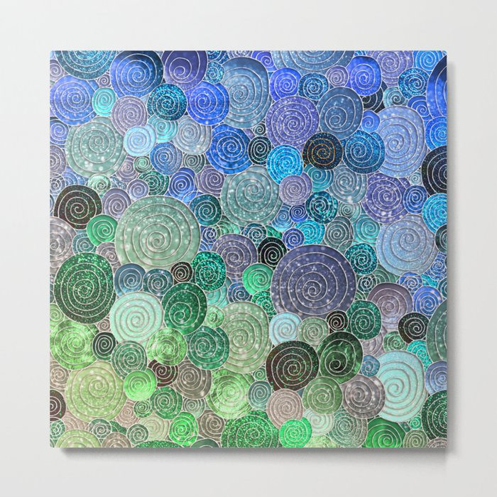 Abstract blue& green glamour glitter circles and polka dots for ladies Metal Print
