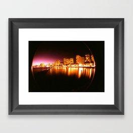 Waikiki at Night Framed Art Print