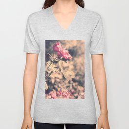 Hope (Hibiscus Pink Rose with Inspirational Quote) Unisex V-Neck