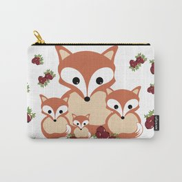 Family of foxes in winter Carry-All Pouch