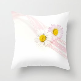 Spring Flowers White and Pink Throw Pillow