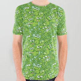 Funny green frogs entangled in a messy pattern All Over Graphic Tee