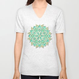 White cyan and yellow Beautiful Wedding Mandala Unisex V-Neck