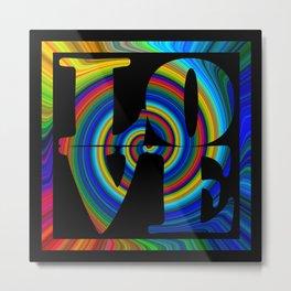 retro colorswirl love square Metal Print