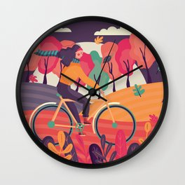 Autumn Night Ride Wall Clock