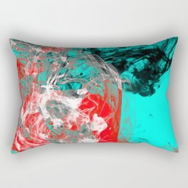 Marbled Collision - Abstract, red, blue, black and white mixed paint artwork Rectangular Pillow