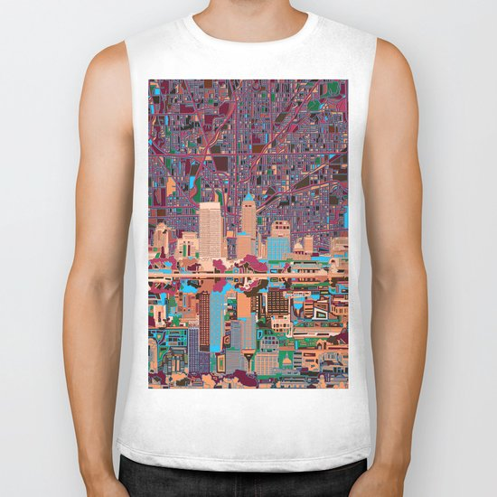 indianapolis city skyline purple Biker Tank