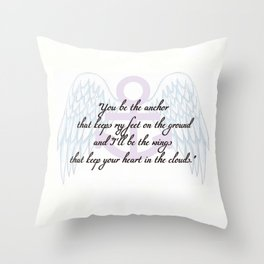Anchor Wings Quote Throw Pillow