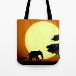 Safari elephants at sunset Tote Bag