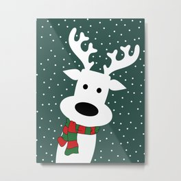 Reindeer in a snowy day (green) Metal Print