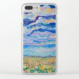 Spring Meadow - Palette Knife acrylic floral landscape by Adriana Dziuba Clear iPhone Case