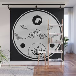 Floral Print Circle - White on Black Wall Mural