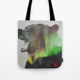 Bear In The Aurora Borealis Tote Bag