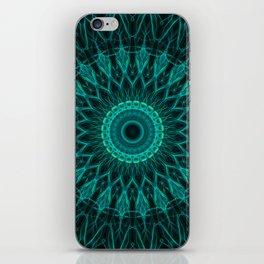 Pretty blue and malachite green mandala iPhone Skin