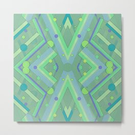 Green and Blue Composition Watercolor Metal Print