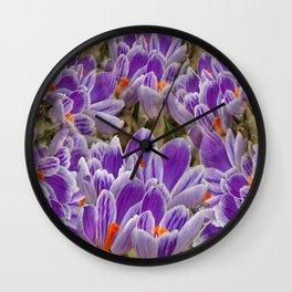 Striped Purple Crocuses Manipulated Wall Clock