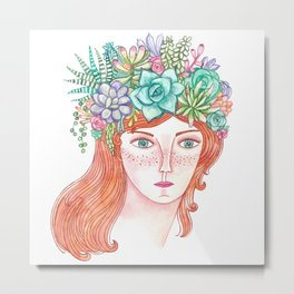 Waercolor girl with red hair and succulents Metal Print