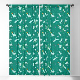 Acrobatic Cats in Green Blackout Curtain