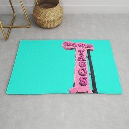 Cha-Cha's Tacos Retro Vintage Pink Sign Rug