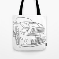 mustang Tote Bags featuring Mustang by cchelle135