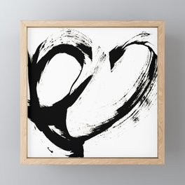 Brushstroke 6: a minimal, abstract, black and white piece Framed Mini Art Print