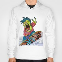 snowboarding Hoodies featuring Snowboarding by Brain Drain Fox