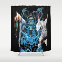 hip hop Shower Curtains featuring Hip Hop Street Dance by ezmaya