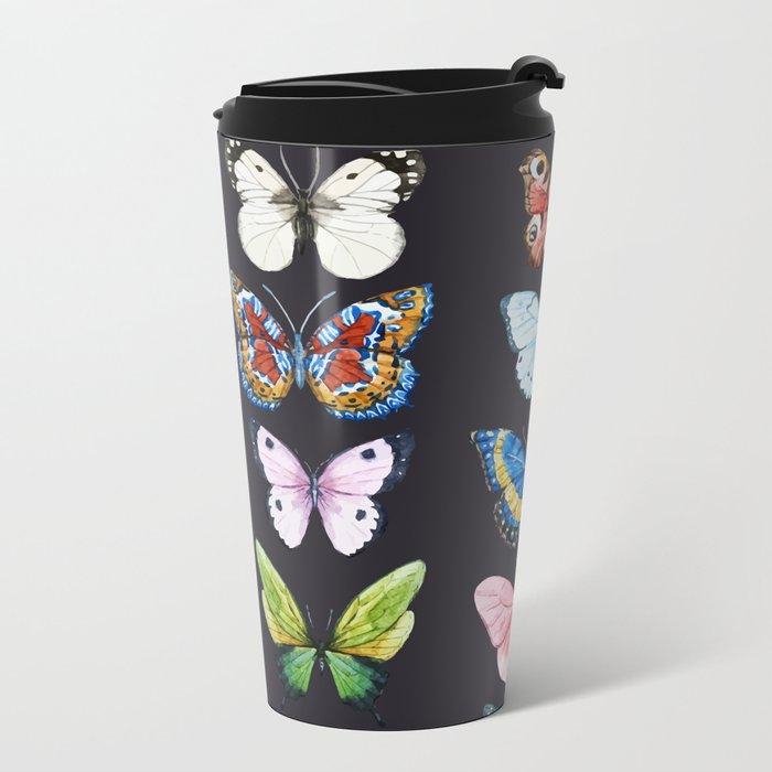 Butterfly Pattern 06 Metal Travel Mug