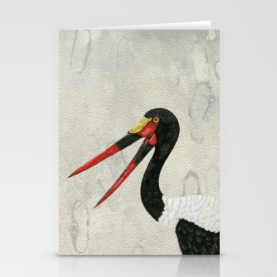 Saddle-billed Stork Quinn 2 Stationery Cards