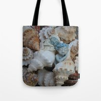 pixies Tote Bags featuring Sea pixies by Tracey Burgun